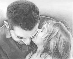 hand drawn pencil sketch from photo of dad with daughter 79 95