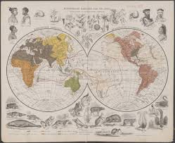 Old World Maps by Double Hemispherical 1871 World Map Centred On Oceania Showing The