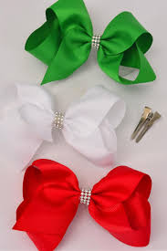 hair bow center hair bow jumbo large bow center clear stones white green