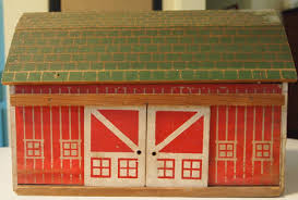Toy Barn With Farm Animals Vintage Wood Barn Toy Playset With Animals