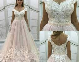 blush wedding dress etsy