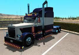 peterbilt and kenworth peterbilt 389 blue and white skin mod american truck simulator
