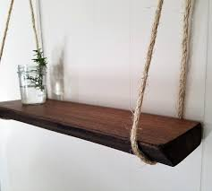 rustic wooden shelf hanging shelf natural wood shelf mahogany