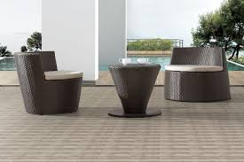 contemporary outdoor set with low coffee table and 2 chairs