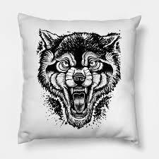 neotraditional wolf illustration wolf throw pillow teepublic