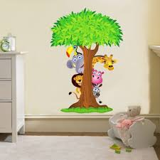 inspire your kids with the best childrens wall decals home image of details about safari animals tree decal removable wall sticker for childrens wall art