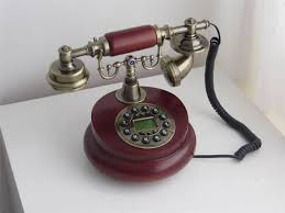Vintage 60s Home Decor by New Antique Desk Telephone Wooden Button Dial Retro Vintage Corded