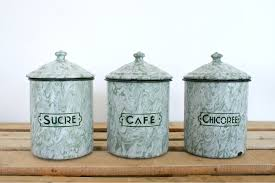 art deco enamel canisters sold my french finds