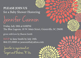 baby bridal shower invitations coral salmon and pale yellow