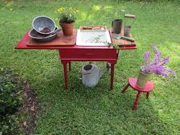 Merry Garden Potting Bench by Red Shed Vintage Trash Talk Thursday Sew Simple Potting Bench