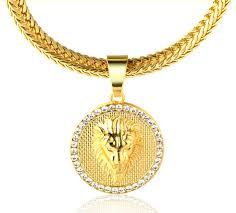 medallion pendant necklace images Kings landing quot men 39 s 18k real gold plated lion medallion pendant jpg
