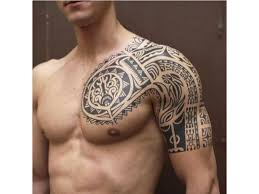 collection of 25 black maori polynesian tattoos on chest and