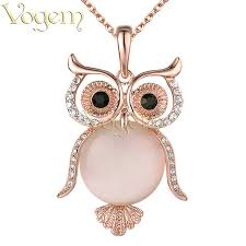 owl necklace rose gold images Vogem opal owl necklace rose gold luxury pink austrian crystal jpg