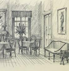 pencil drawing dining room circa 1950