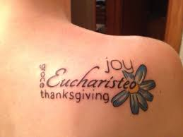 symbols of thanksgiving this is my first tattoo eucharisteo is greek for thanksgiving in