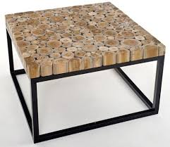 reclaimed wood mosaic coffee table metal base industrial mid
