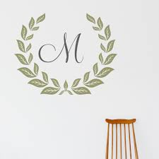 personalized monogram wreath personalized monogram wreath wall art decal