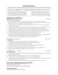 Job Resume Objective Restaurant by Clothing Store Manager Resume With Retail Management Resume