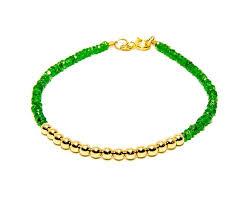 gold beads bracelet images Tsavorite garnet 14k gold bead bracelet women and men 39 s bracelet jpg