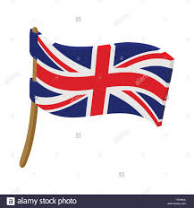Great Britain Flag Great Britain Flag With Flagpole Icon Stock Vector Art