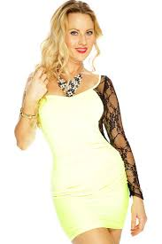 womens clothing party dresses neon yellow black lace detail dress
