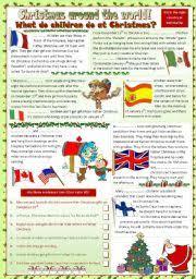 worksheet christmas around the world