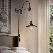 Edison Wall Sconce Vintage Industrial Retro Ameican Country Pulley Adjustable Edison