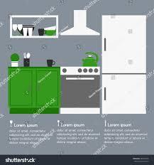kitchen interior design template text modern stock vector