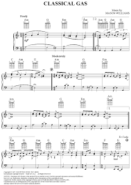 classical gas sheet for piano and more
