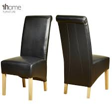 Quality Leather Dining Chairs 1home Leather Dining Chairs Scroll High Top Back Oak Legs Furniture