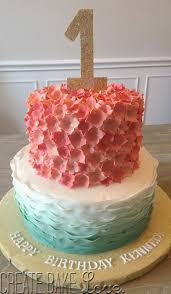 create bake love birthday cake gold aqua coral
