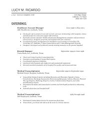 Medical Transcriptionist Resume Sample by Healthcare Resume Template Berathen Com