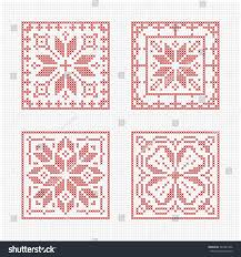 set tiles scandinavian cross stitch pattern stock vector 342581306