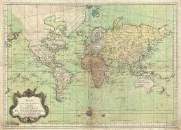 World Map Longitude by 1778 Bellin Nautical Chart Or Map Of The World Geographicus