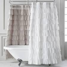 Cynthia Rowley Ruffle Shower Curtain Fresh White Ruffle Curtains And Ruffled Layered Curtains