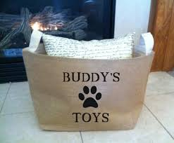 personalized basket large personalized lined burlap dog basket burlap