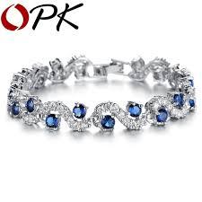 stone silver bracelet images Opk jewelry fashion eu style silver color blue crystal stone jpg