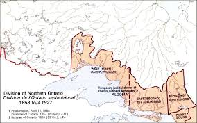 Map Of Ontario The Changing Shape Of Ontario Districts Of Northern Ontario 1869