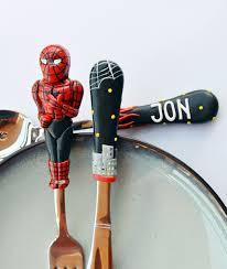 spiderman silverware set kids gift for dad or boy unique