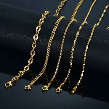 necklace chain metal types images 2mm mini two tone stainless steel chain necklace for women female jpg