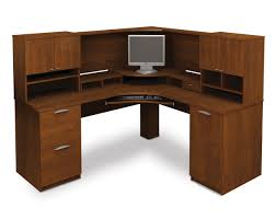 Modern L Shape Desk by L Shaped Brown Wooden Corner Computer Desk With 2 Drawers And 1