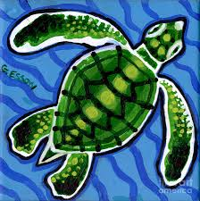 baby green sea turtle painting by genevieve esson