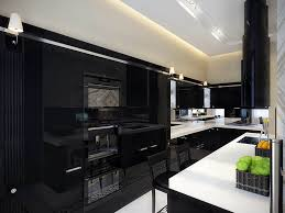 attractive l shape black kitchen with island features black wooden