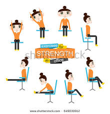 Office Chair Exercises Pretty Doing Exercises On Office Stock Vector 645789628