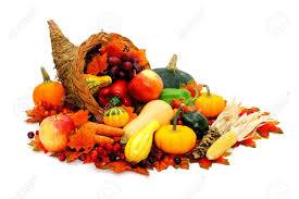 thanksgiving cornucopia filled with fresh harvest vegetables stock