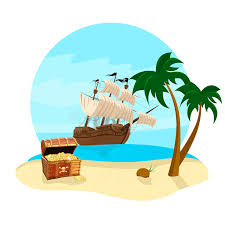 summer holidays travel icon with pirate ship coconut tree treasure