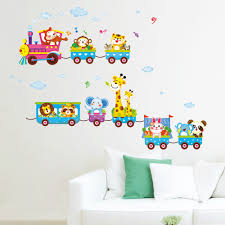 online get cheap kids train art aliexpress com alibaba group hot animal elephant train children wall stickers for kids rooms nursey home decorations decals mural art