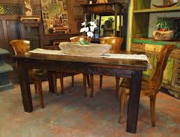 rustic wood dining room table small brown varnishes square oak