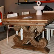 art deco oak and iron dining room table by jean charles moreux