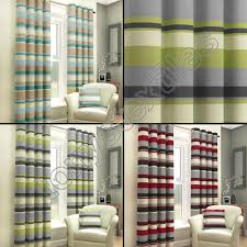 Black Eyelet Curtains 66 X 90 Striped Curtains Ebay